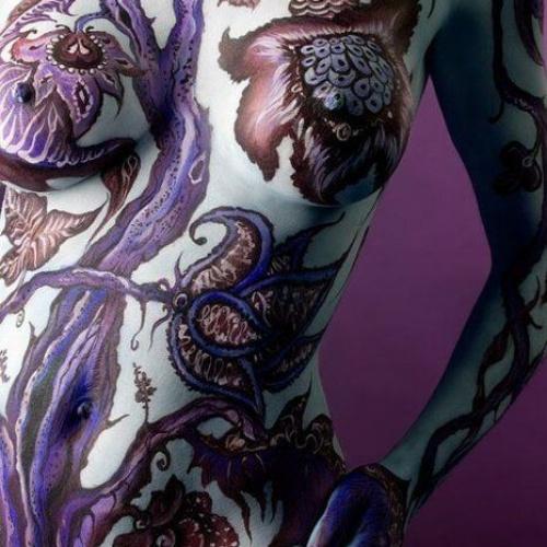 Violet body paint