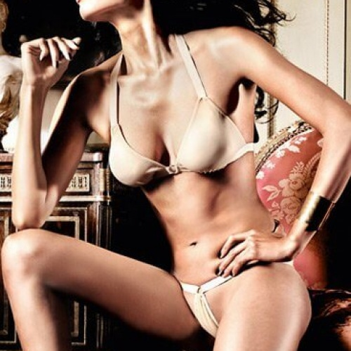 Baci Lingerie Champagne metallic bikini set