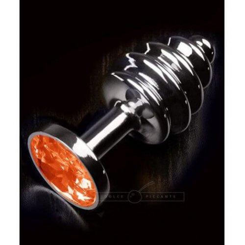 Dolce Piccante – Jewellery Ribbed Silver Butt Plug Oranje