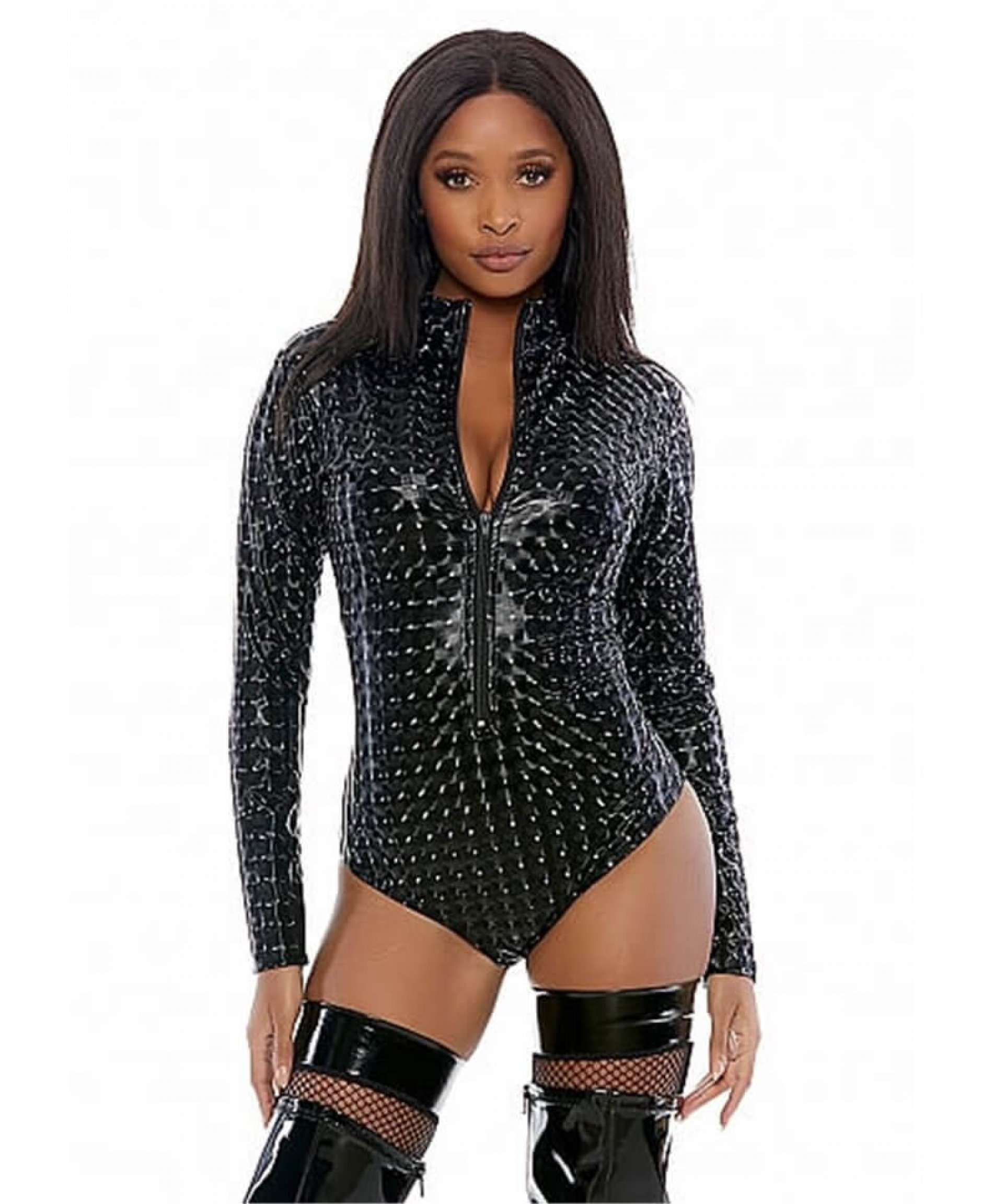 Forplay Zipfront hologram Bodysuit black