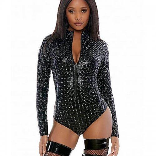 Forplay Zipfront hologram Bodysuit black